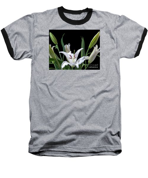 A White Oriental Lily Surrounded Baseball T-Shirt by David Perry Lawrence