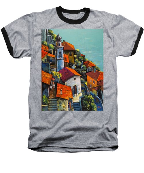 Baseball T-Shirt featuring the painting Limone Del Garda by Mikhail Zarovny