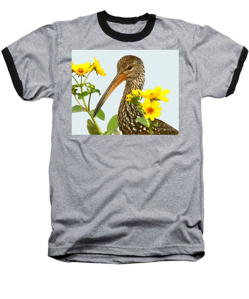 Baseball T-Shirt featuring the photograph Limpkin In The Flowers by Myrna Bradshaw