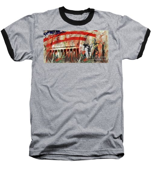 Lincoln Memorial And Lincoln Statue Baseball T-Shirt by Gull G