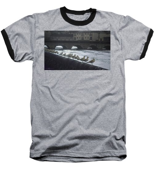Line Of Birds Baseball T-Shirt