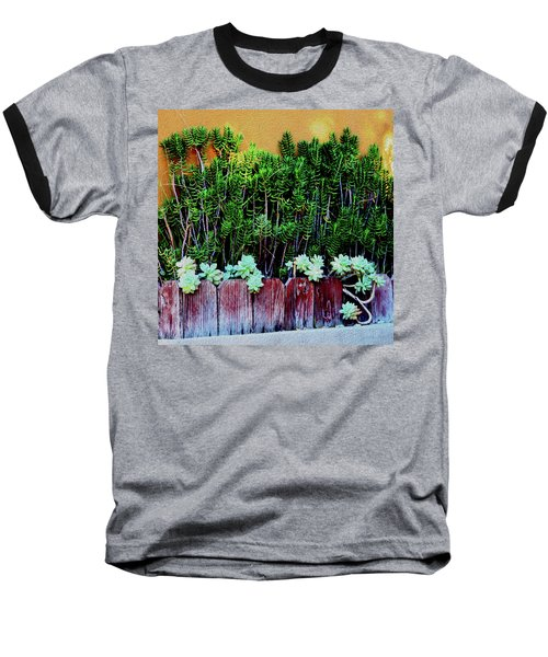 Line Of Succulents And Red Fence Baseball T-Shirt