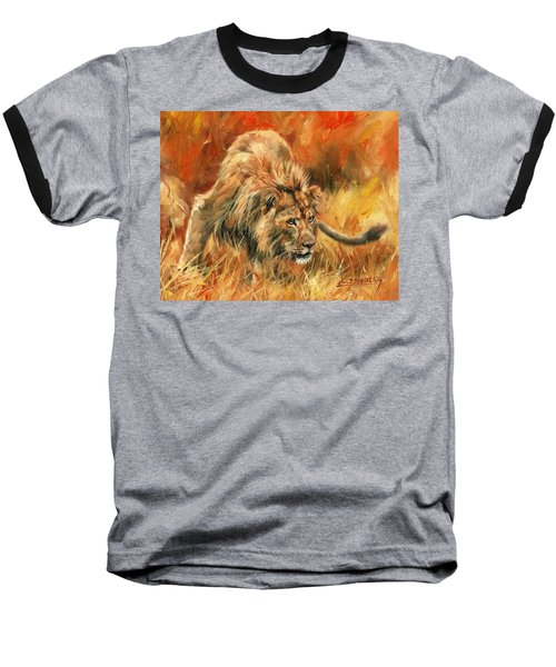 Baseball T-Shirt featuring the painting Lion Alert by David Stribbling