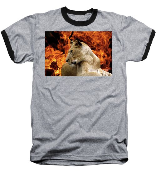 Lion And Fire Baseball T-Shirt by Inspirational Photo Creations Audrey Woods