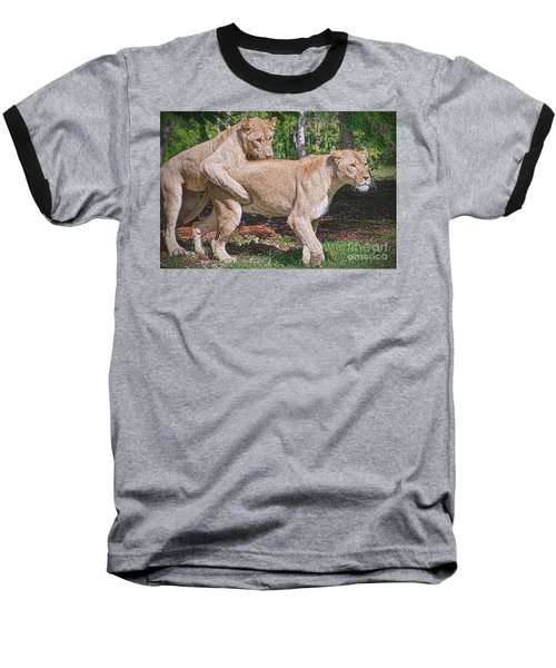 Baseball T-Shirt featuring the painting Lion Backer by Judy Kay