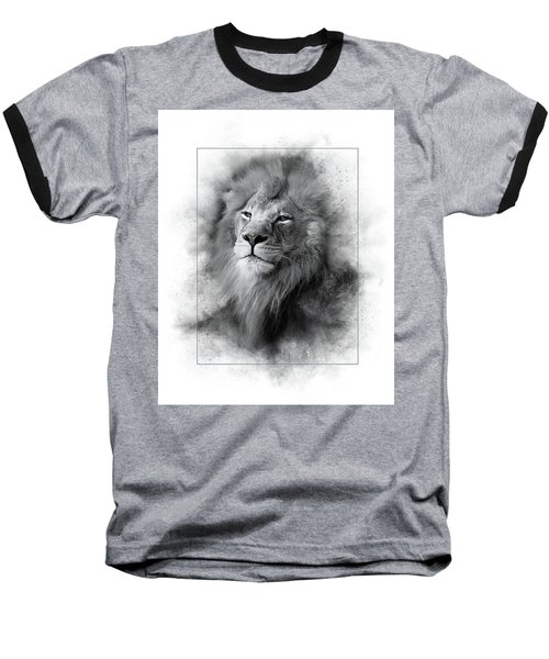 Lion Black White Baseball T-Shirt