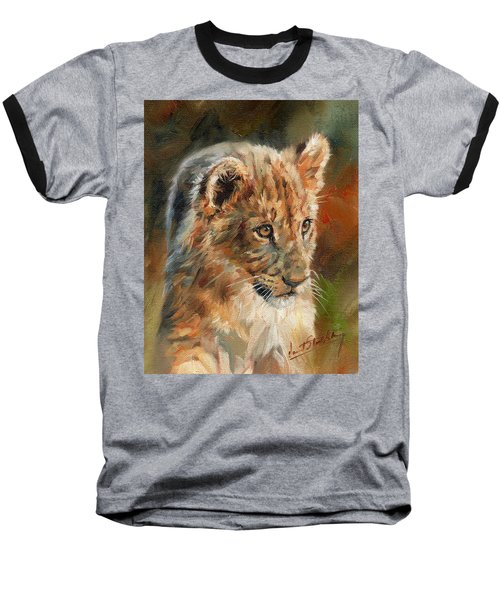 Baseball T-Shirt featuring the painting Lion Cub Portrait by David Stribbling