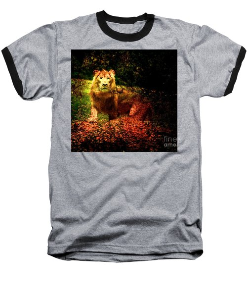 Baseball T-Shirt featuring the photograph Lion In The Wilderness by Annie Zeno