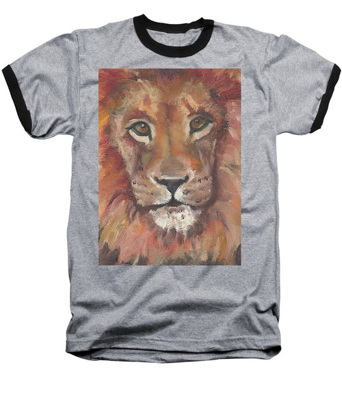 Baseball T-Shirt featuring the painting Lion by Jessmyne Stephenson