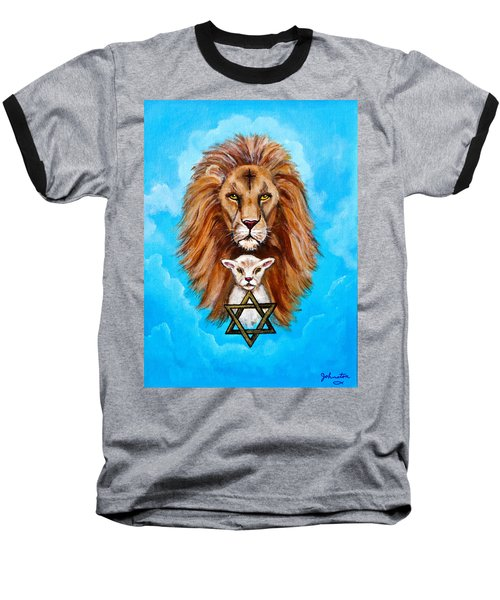 Baseball T-Shirt featuring the painting Lion Lies Down With A Lamb by Bob and Nadine Johnston