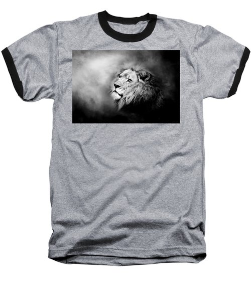 Lion - Pride Of Africa II - Tribute To Cecil In Black And White Baseball T-Shirt