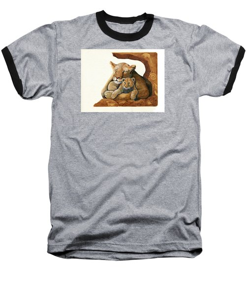 Baseball T-Shirt featuring the painting Lion - Protect Our Children Painting by Linda Apple