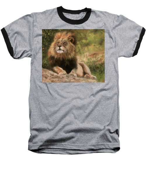 Baseball T-Shirt featuring the painting Lion Resting by David Stribbling
