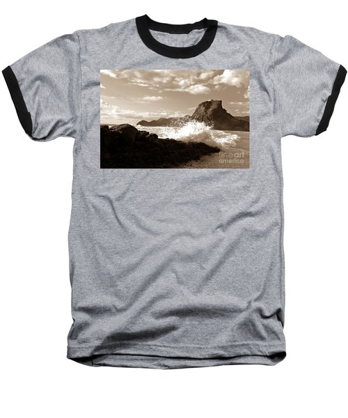 Baseball T-Shirt featuring the photograph Lion Rock On Piha Beach, New Zealand by Yurix Sardinelly