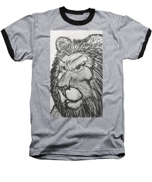 Lion Sketch  Baseball T-Shirt by Yshua The Painter