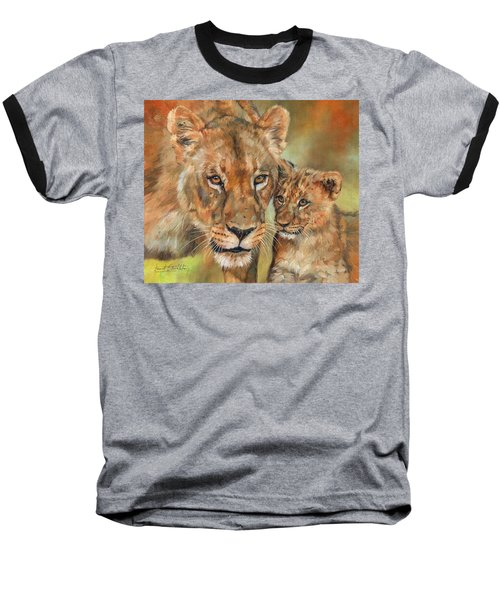 Lioness And Cub Baseball T-Shirt by David Stribbling
