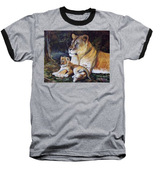 Lioness And Cub Baseball T-Shirt