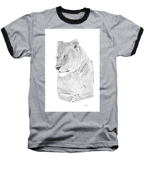 Baseball T-Shirt featuring the drawing Lioness by Patricia Hiltz