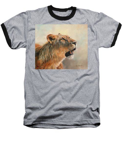 Lioness Portrait 2 Baseball T-Shirt by David Stribbling