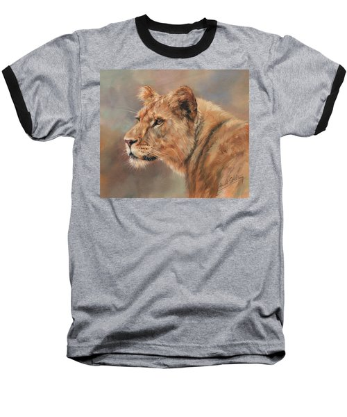 Lioness Portrait Baseball T-Shirt by David Stribbling
