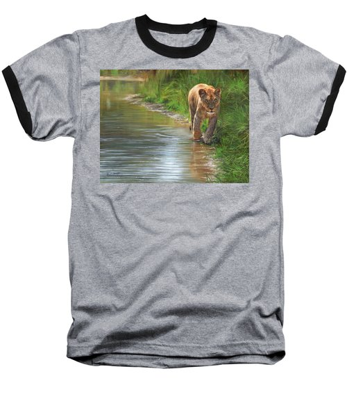 Lioness. Water's Edge Baseball T-Shirt by David Stribbling