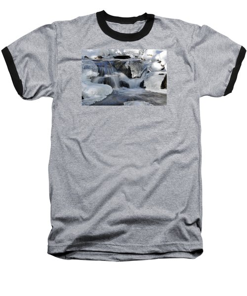 Baseball T-Shirt featuring the photograph Winter Waterfall In Maine by Glenn Gordon