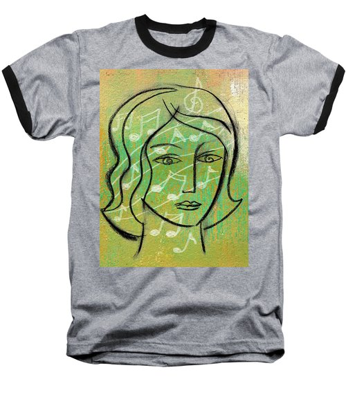 Baseball T-Shirt featuring the painting Listening To Music by Leon Zernitsky