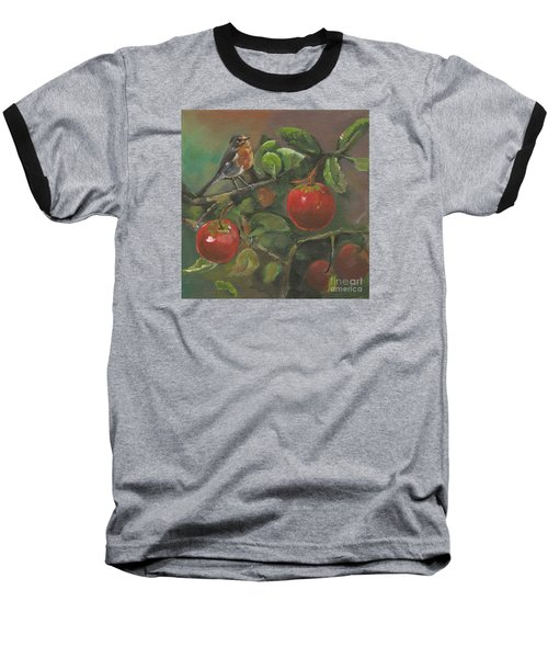 Baseball T-Shirt featuring the painting Little Bird In The Apple Tree by Jan Dappen