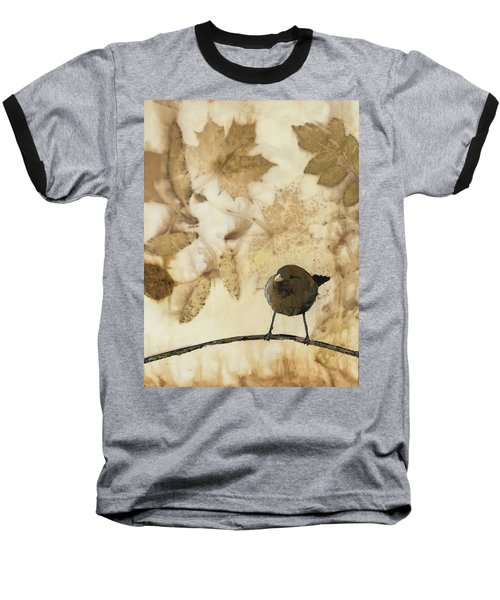 Little Bird On Silk With Leaves Baseball T-Shirt by Carolyn Doe