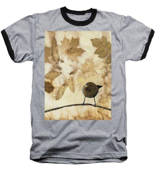 Little Bird On Silk With Leaves Baseball T-Shirt