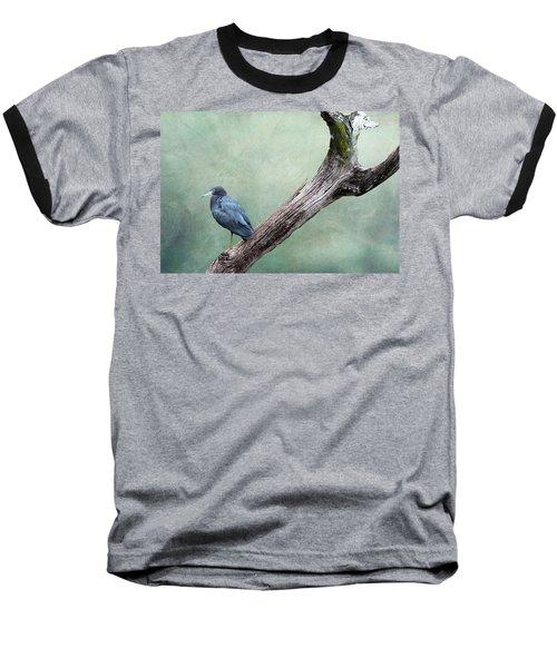 Little Blue Heron On Green Baseball T-Shirt