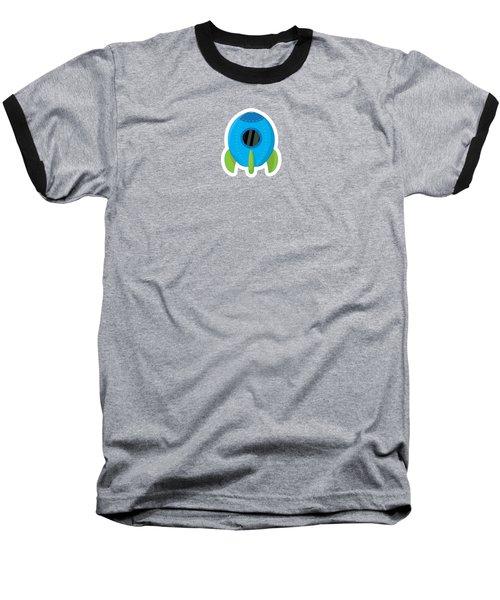 Little Blue Rocket Ship Baseball T-Shirt
