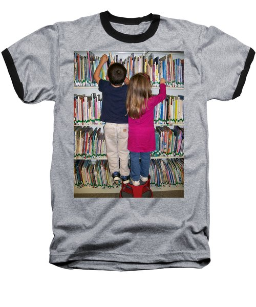 Baseball T-Shirt featuring the digital art Little Bookworms by Barbara S Nickerson