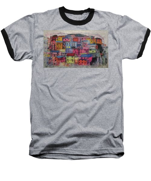 Baseball T-Shirt featuring the painting Little Boxes 2016 by Ron Richard Baviello