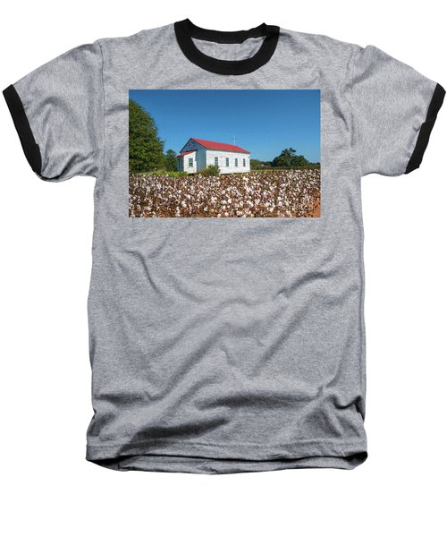 Little Church In The Cotton Field Baseball T-Shirt by Bonnie Barry