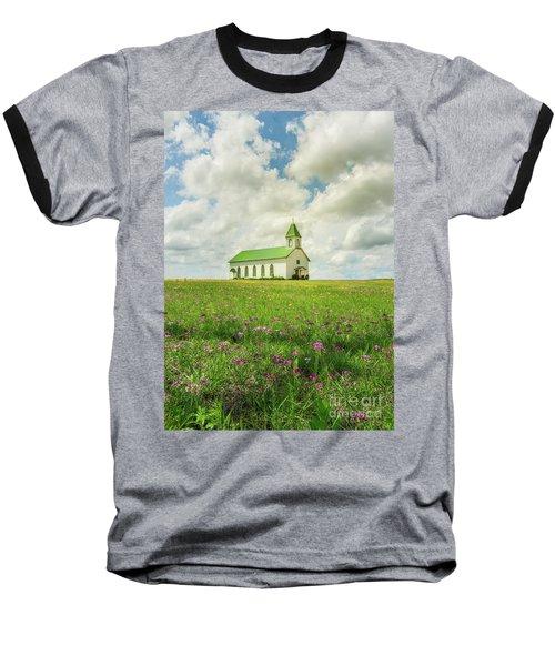 Little Church On Hill Of Wildflowers Baseball T-Shirt by Robert Frederick