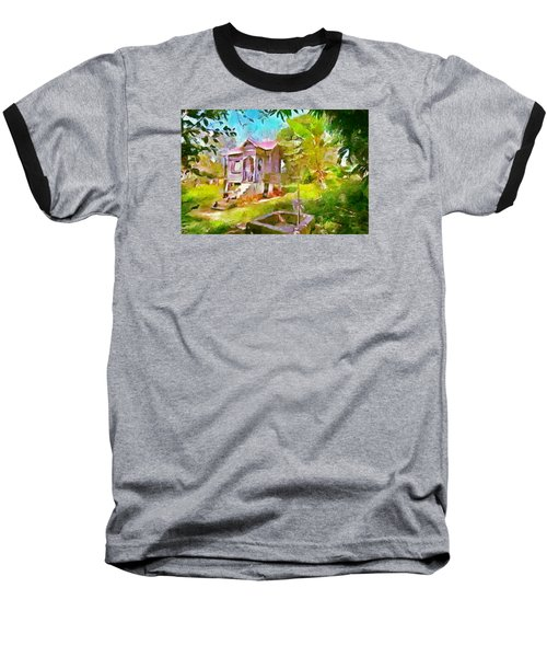 Caribbean Scenes - Little Country House Baseball T-Shirt by Wayne Pascall