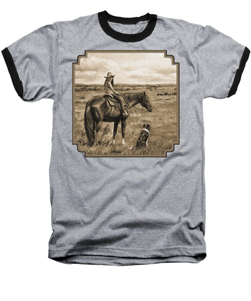 Little Cowgirl On Cattle Horse In Sepia Baseball T-Shirt by Crista Forest