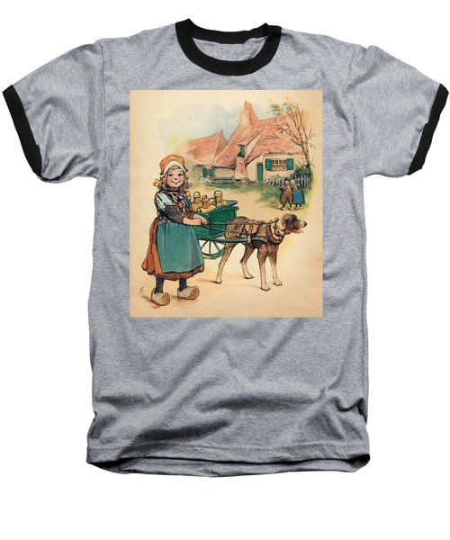 Little Dutch Girl With Milk Wagon Baseball T-Shirt by Reynold Jay