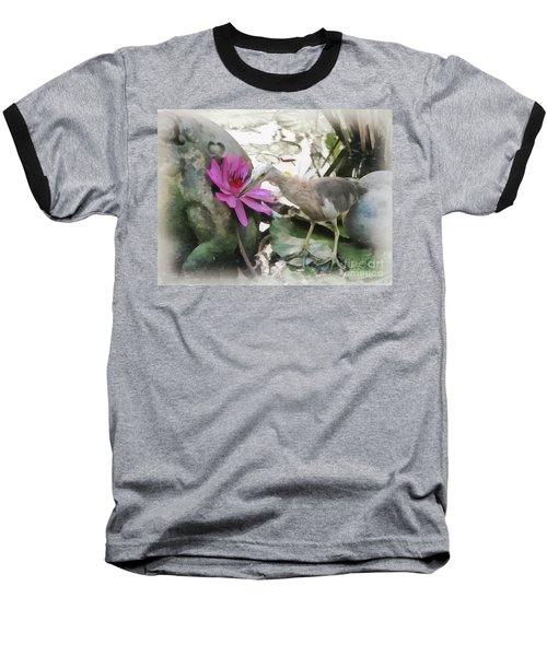 Baseball T-Shirt featuring the painting Little Egret by Sergey Lukashin