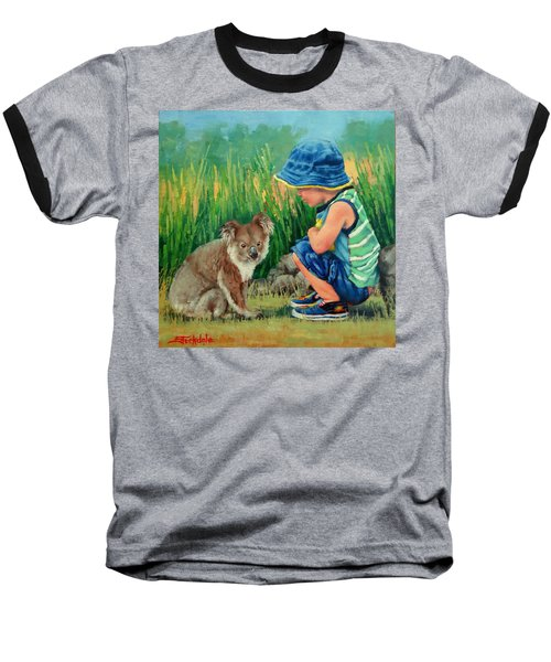 Baseball T-Shirt featuring the painting Little Friends by Margaret Stockdale