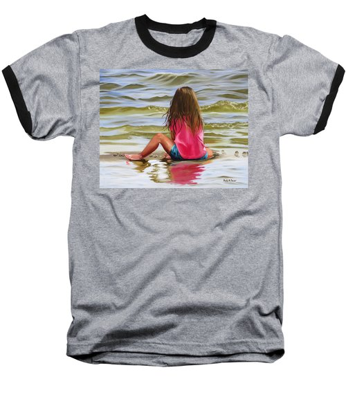 Little Girl In The Sand Baseball T-Shirt