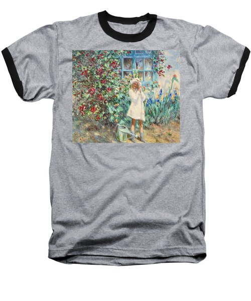 Little Girl With Roses  Baseball T-Shirt by Pierre Van Dijk