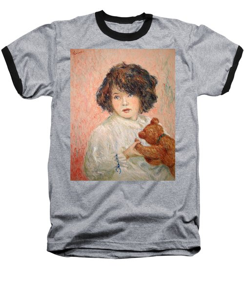 Little Girl With Bear Baseball T-Shirt