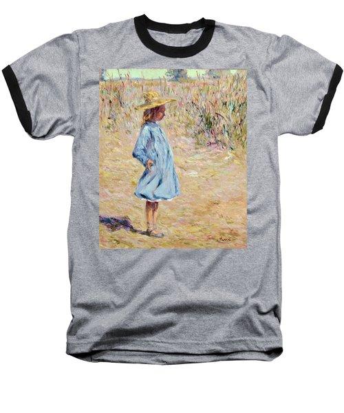 Little Girl With Blue Dress Baseball T-Shirt
