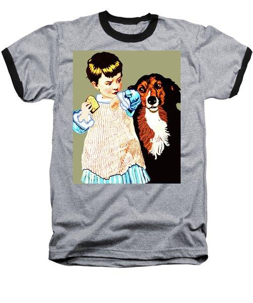 Little Girl With Hungry Mutt Baseball T-Shirt