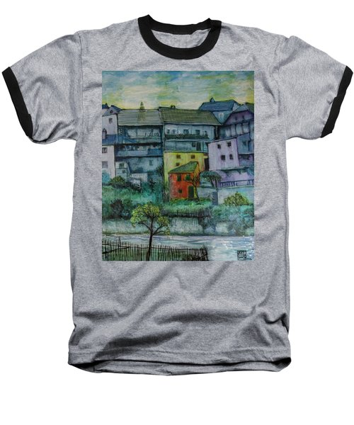 Baseball T-Shirt featuring the painting River Homes by Ron Richard Baviello