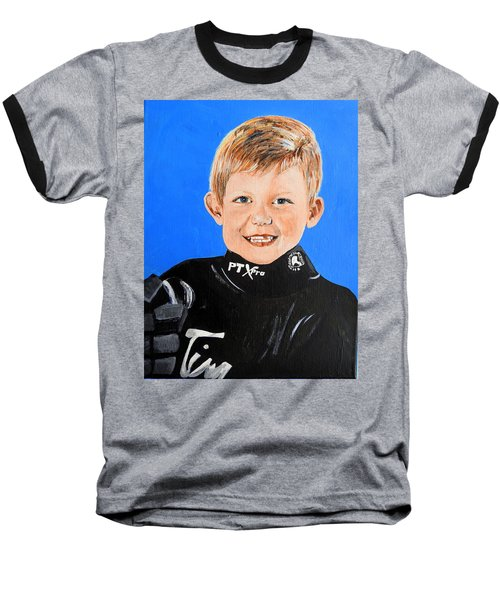 Baseball T-Shirt featuring the painting Little Mister G by Betty-Anne McDonald