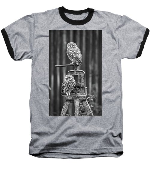 Little Owls Black And White Baseball T-Shirt