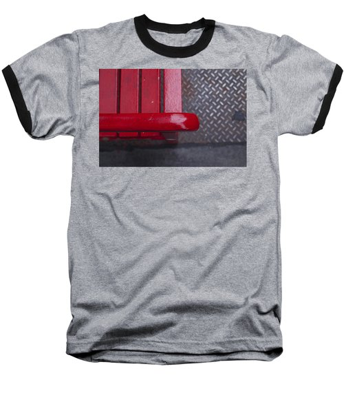 Little Red Bench Baseball T-Shirt by Henri Irizarri